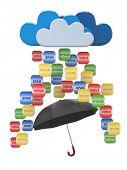 Cloud computing concept. Virus, spam protection. 3d