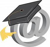 stock photo of graduation cap  - graduation cap and connection symbol  - JPG