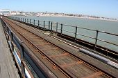 railway tracks on a pier