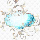 Elegant rococo label in vibrant blue on white
