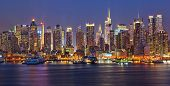 image of new york night  - View on night Manhattan - JPG