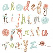 Unique vector flower font. Amazing hand drawn Alphabet.