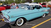 Powder Blue & White 1957 Chevy Bel Air