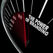 The power of branding measured by a speedometer representing the high level of loyalty a customer fe