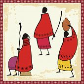 Vector illustrations of African Masai people in traditional clothing.