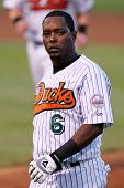 CENTRAL ISLIP-JULY 21: Long Island Ducks outfielder Timo Perez (6) reacts against the Sugar Land Ske