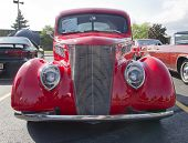 1937 Ford Club Coupe Red Front View
