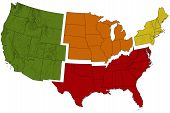 image of usa map  - Brightly Colored USA Map Divided into Regions - JPG