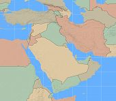 stock photo of saudi arabia  - Middle East Region map with country boundaries - JPG