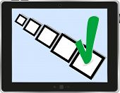Tablet Pc ipad With Check Box On White Background