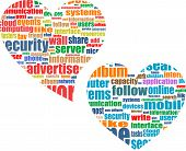 Social Media Marketing Concept In Word Tag Cloud In Heart