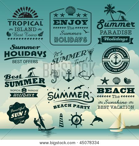 Vintage summer typography plan with names, symbols components gathering