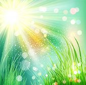 futuristic landscape with grass and sunlight