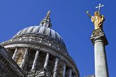St. Pauls Cathedral And Statue Of Saint Paul In London