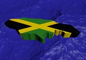 Jamaica map flag in abstract ocean illustration