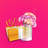 Happy Mothers Day concept with flowers and gift box on pink background.