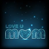 Happy Mothers Day background with shiny text love you mom.