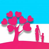 Happy Mothers Day background with pink silhouette a mother holding her child hand standing in front