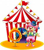 Illustration of a female clown juggling in front of the tent on a white background
