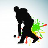stock photo of cricket  - Cricket batsman in playing action on grungy colorful background - JPG