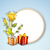 Happy Mothers Day concept with flowers, gift boxes and blank tag for your message.