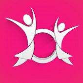 Abstract Happy Mothers Day concept with mother and child symbol on pink background.