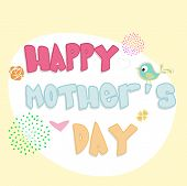 Happy Mothers Day background with colorful text.