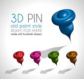 3d Style pin made wit a lot of shapes and in 5 different colors. Ready to use on gps map or just like a pin on papers