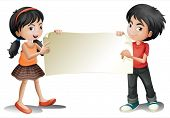 Illustration of a girl and a boy holding an empty signage on a white background