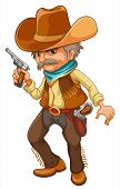 Illustration of a cowboy holding a gun on a white background