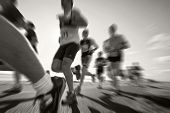 picture of galway  - Marathon runners on the bank of ocean bay blurred motion Black - JPG