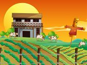Illustration of a farm with cows and a scarecrow