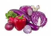 Assorted vegetables in violet gamma.