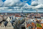 Aerial view of Ghent from Belfry. Ghent, Belgium