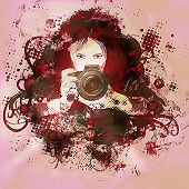 Colorful Girl Photographer Illustration