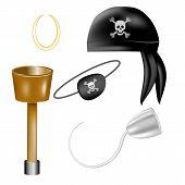 Conjunto de itens de pirata. Ilustração vetorial