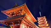Sensoji Temple  in Tokyo, Japan. Founded in 628, it is Tokyo's oldest shrine and one of the most sig