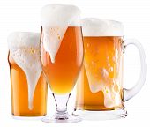 stock photo of beaker  - Frosty fresh beer collection with foam isolated background - JPG