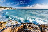 Постер, плакат: Azure море и прекрасной пляж Ницца Французская Ривьера Франция