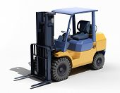 Forklift loader close-up on a light background