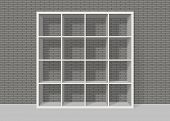 White Empty Square Bookshelf On Grey Brick Wall Background