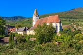 Spitz Village Church In Famouse Wachau Valley, Austria