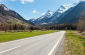 picture of engadine  - Road and mountain in 	 Switzerland - JPG