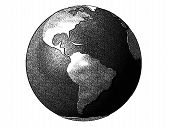 Comics-style black and white illustration of the planet earth