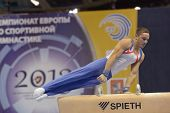 MOSCOW, RUSSIA - APRIL 20: Daniel Keatings, Great Britain performs exercise on pommel horse in final