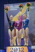 MOSCOW, RUSSIA - APRIL 20: Medalists on uneven bars in European Championships in Artistic Gymnastics