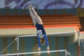 MOSCOW, RUSSIA - APRIL 20: Ida Gustafsson, Sweden performs exercise on uneven bars in final of 5th E