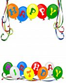 picture of happy birthday  - Colorful balloons for Birthday party invitation card border background or frame with text and copy space - JPG
