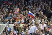 MOSCOW, RUSSIA - APRIL 21: Fans support the athletes in final of 5th European Championships in Artis
