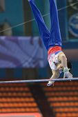 MOSCOW, RUSSIA - APRIL 21: Emin Garibov, Russia performs exercise on high bar in final of 5th Europe